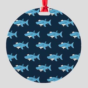 Blue Cartoon Shark Pattern Ornament