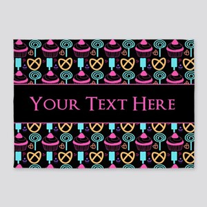 Whimsical Cupcake Personalized 5'x7'Area Rug