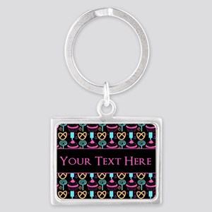 Whimsical Cupcake Personalized Landscape Keychain
