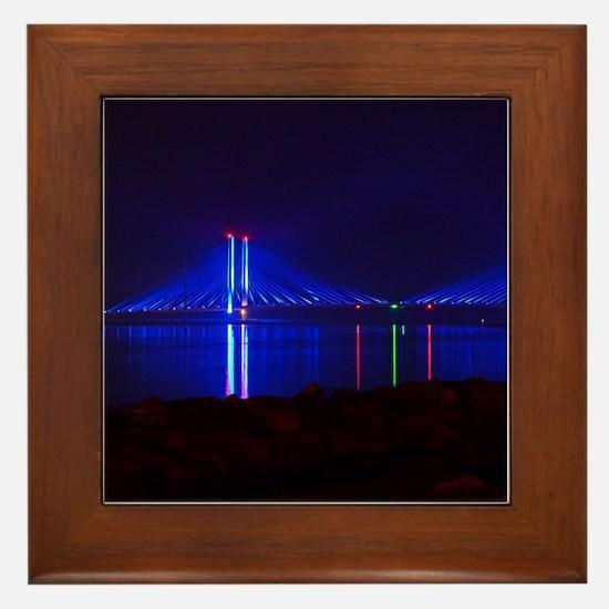 Indian River Bridge at Night Framed Tile