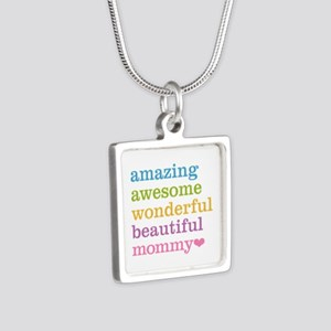 Mommy - Amazing Awesome Silver Square Necklace