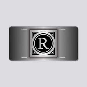 Deco Monogram R Aluminum License Plate