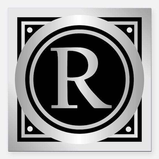 """Deco Monogram R Square Car Magnet 3"""" x 3"""""""