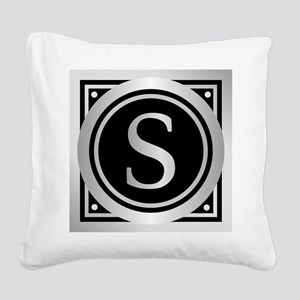 Deco Monogram S Square Canvas Pillow