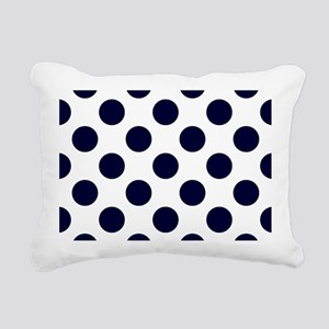 Navy Blue Polkadots Rectangular Canvas Pillow