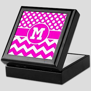 Monogram Hot Pink Chevron Polka Dots Keepsake Box
