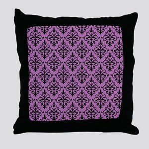 Radiant Orchid & Black Damask 41 Throw Pillow