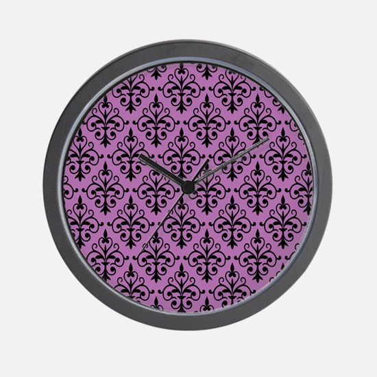 Radiant Orchid & Black Damask 41 Wall Clock