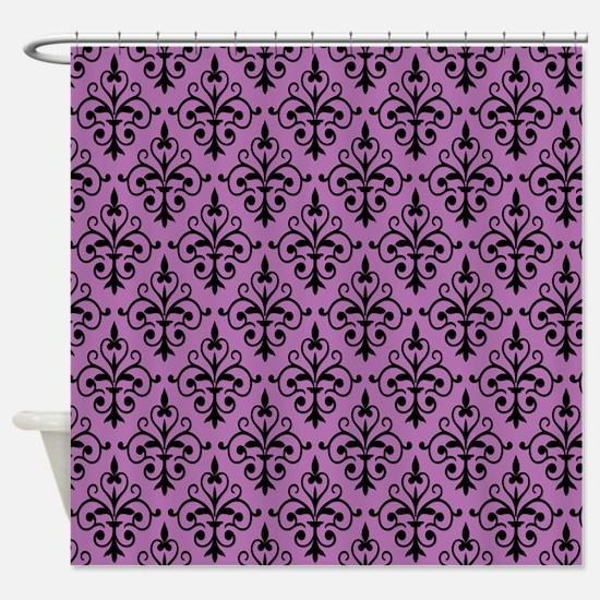 Radiant Orchid & Black Damask 41 Shower Curtain