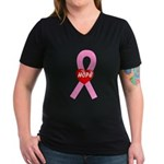 Pink Hope Women's V-Neck Dark T-Shirt