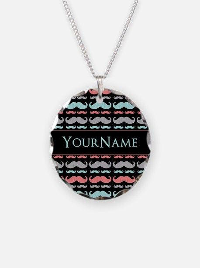 Monogram Girly Mustache Chic Necklace