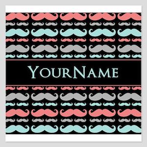 Monogram Girly Mustache Chi 5.25 x 5.25 Flat Cards