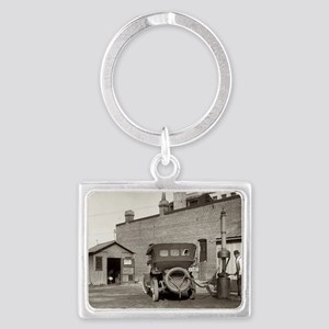 Vintage garage Landscape Keychain