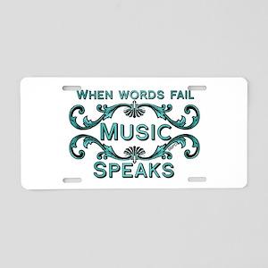 Music Speaks Aluminum License Plate