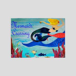 Mermaids Crossings Rug 5'x7'Area Rug