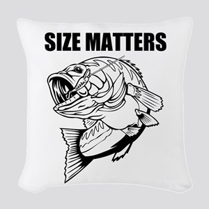 Size Matters Fishing Woven Throw Pillow