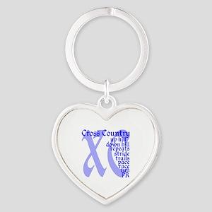 Cross Country XC blue Heart Keychain