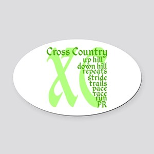 Cross Country XC green Oval Car Magnet