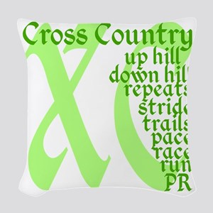 Cross Country XC green Woven Throw Pillow
