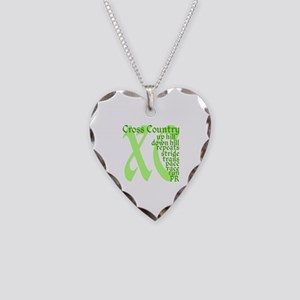 Cross Country XC green Necklace Heart Charm