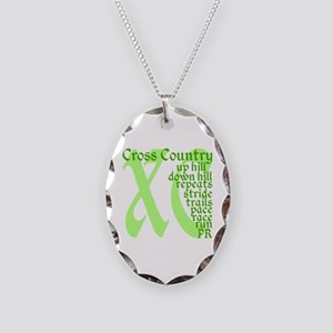 Cross Country XC green Necklace Oval Charm