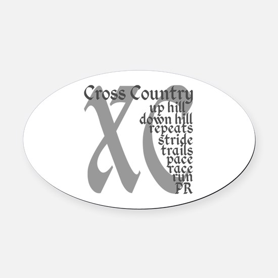 Cross Country XC grey gray Oval Car Magnet