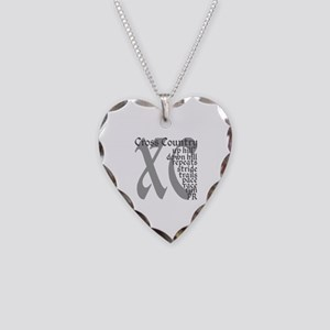 Cross Country XC grey gray Necklace Heart Charm
