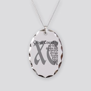 Cross Country XC grey gray Necklace Oval Charm