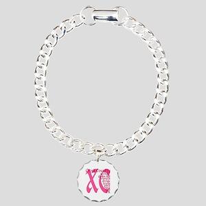Cross Country XC pink Charm Bracelet, One Charm