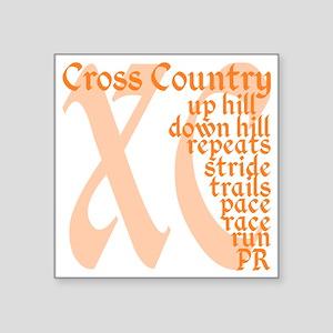 "Cross Country XC orange Square Sticker 3"" x 3"""