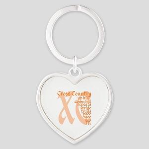 Cross Country XC orange Heart Keychain