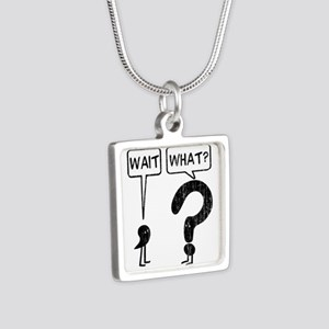Wait, What? Silver Square Necklace