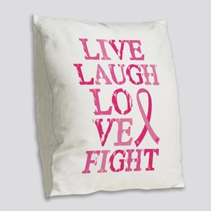 Live Love Fight Burlap Throw Pillow