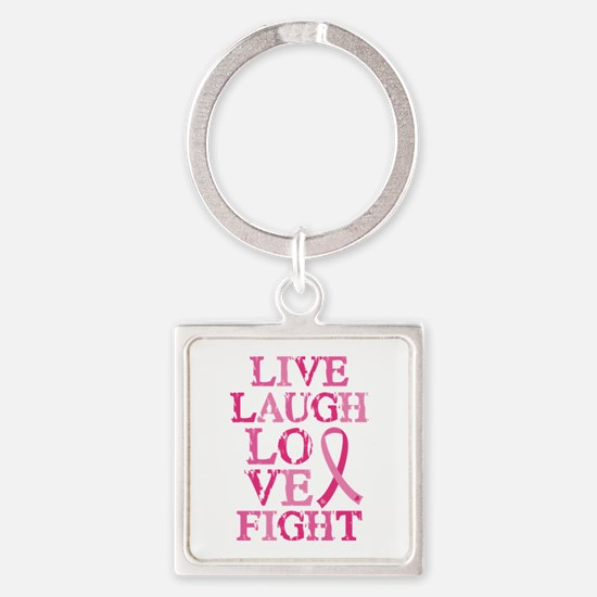 Live Love Fight Square Keychain