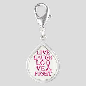 Live Love Fight Silver Teardrop Charm