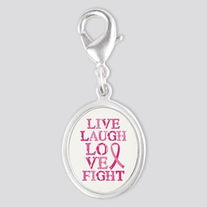 Live Love Fight Silver Oval Charm