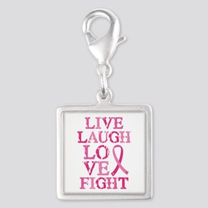 Live Love Fight Silver Square Charm