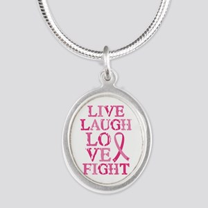 Live Love Fight Silver Oval Necklace
