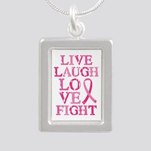 Live Love Fight Silver Portrait Necklace