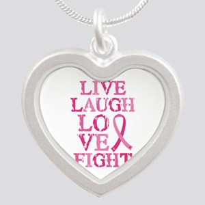 Live Love Fight Silver Heart Necklace