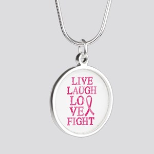 Live Love Fight Silver Round Necklace