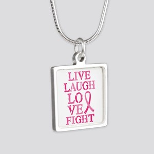 Live Love Fight Silver Square Necklace
