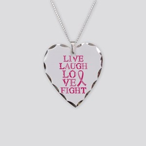 Live Love Fight Necklace Heart Charm