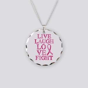 Live Love Fight Necklace Circle Charm
