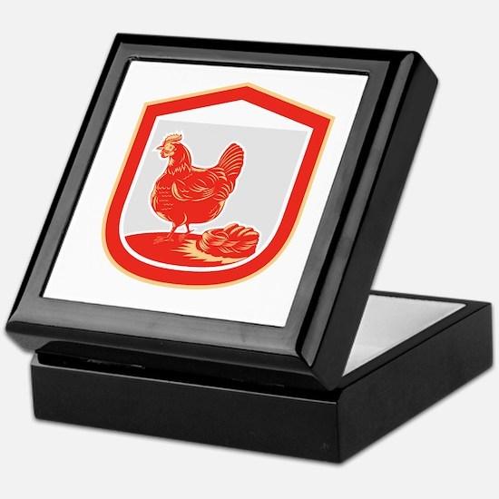 Hen Chicken Nest Egg Shield Retro Keepsake Box