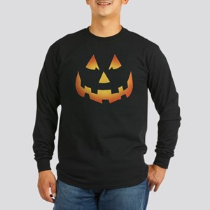 Scary Pumpkin Face Long Sleeve Dark T-Shirt