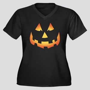 Scary Pumpkin Face Women's Plus Size V-Neck Dark T