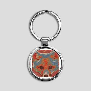 Red Fox Print Round Keychain