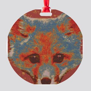 Red Fox Print Round Ornament