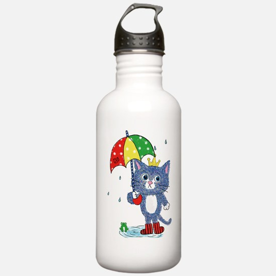 Cat king with Umbrella Water Bottle
